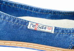 kožená a atestovaná obuv Riflové baleríny Ersax 500-T294 na platformě s aplikací na špičce
