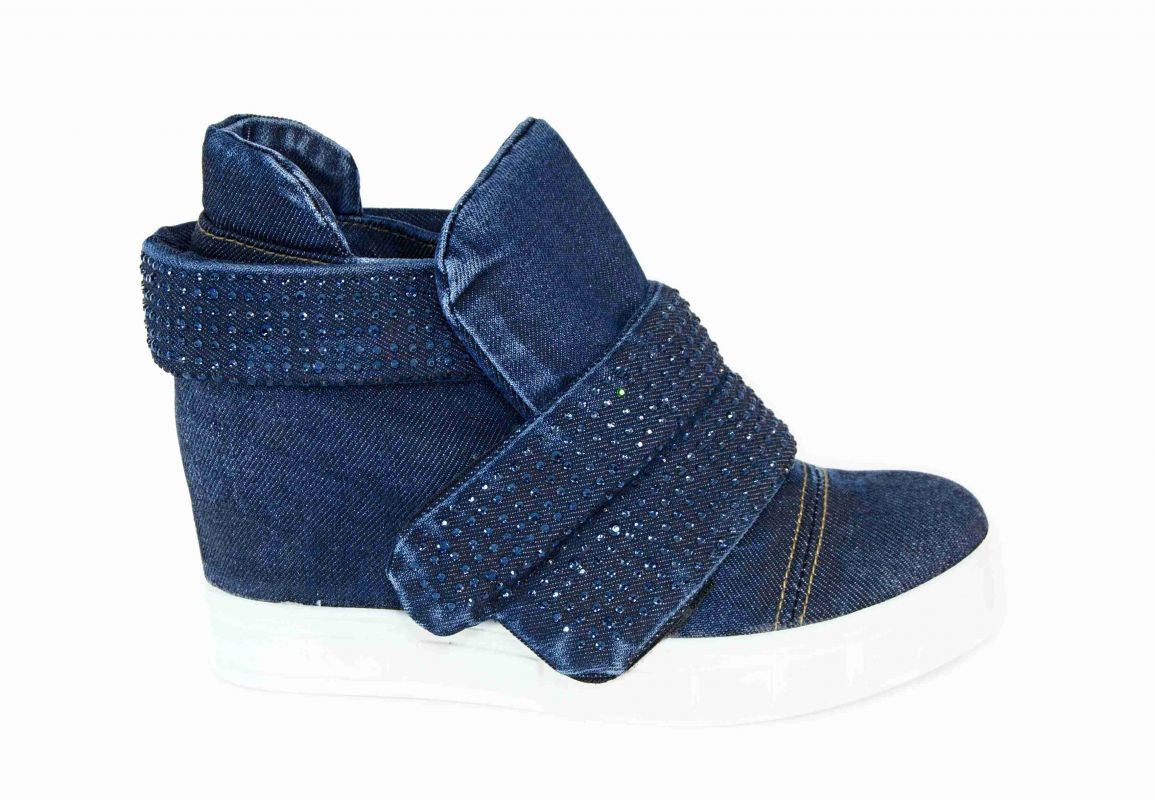 kožená a atestovaná obuv Dámské džínové kotníčkové boty s klínkem a bílou platformou 7310 Emani