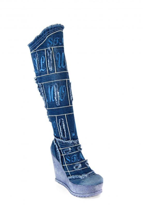 kožená a atestovaná obuv Riflové kozačky na klínku Starbluemoon