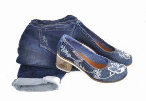 kožená a atestovaná obuv Riflové lodičky na podpatku Emani