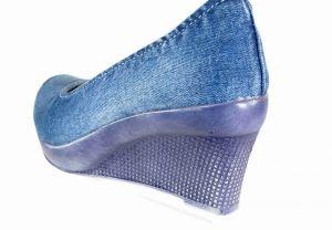 kožená a atestovaná obuv Riflové lodičky Star Bluemoon 787 na modrém klínu Starbluemoon