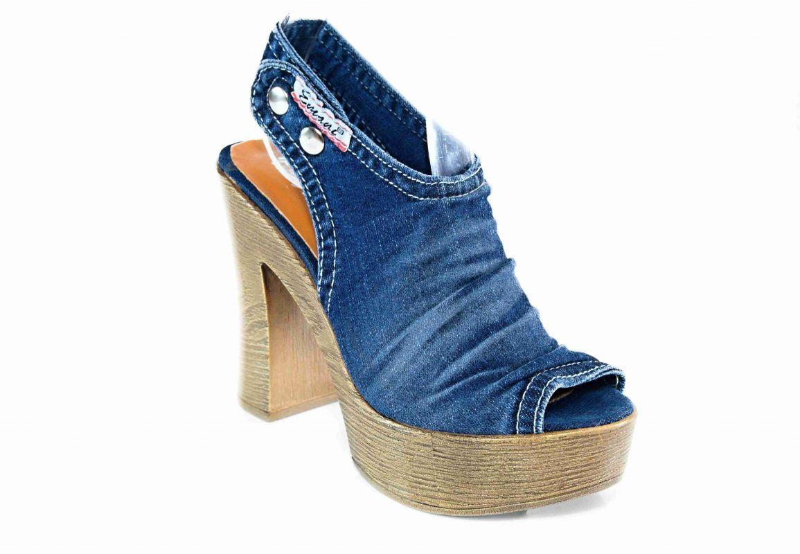 kožená a atestovaná obuv Riflové páskové lodičky Emani 5.12.76234 na širokém podpatku