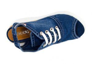 kožená a atestovaná obuv Riflové páskové sandálky 11.12.13 na klínu a platformě Emani