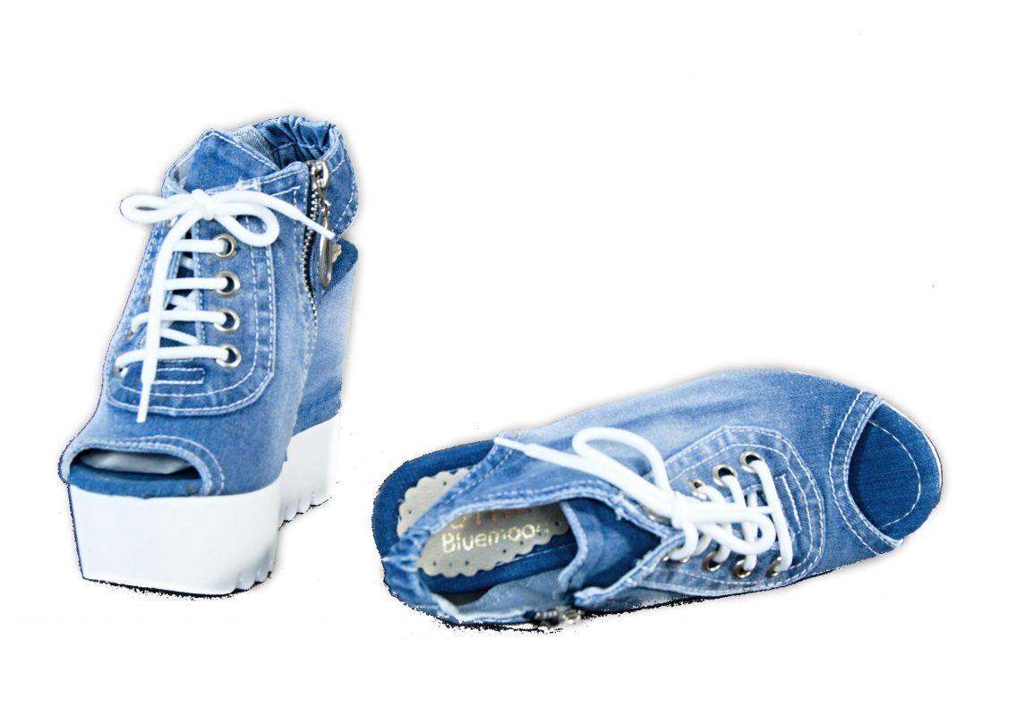 7898c1605ae8 kožená a atestovaná obuv Riflové páskové sandálky 758 na klínu a platformě  Starbluemoon