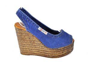 Riflové sandálky Ersax 1040.B4 s otevřenou špičkou na  klínu