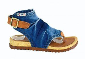 Riflové páskové sandálky Ersax 2014 - 57 na zápatí s korkovou platformou