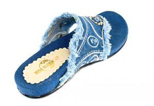 kožená a atestovaná obuv Riflové žabky 561 s třásněmi Starblumoon