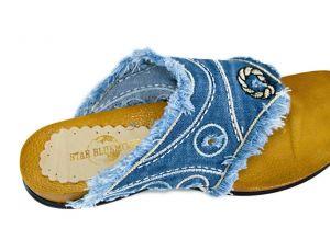 kožená a atestovaná obuv Riflové žabky 561 s třásněmi Starbluemoon