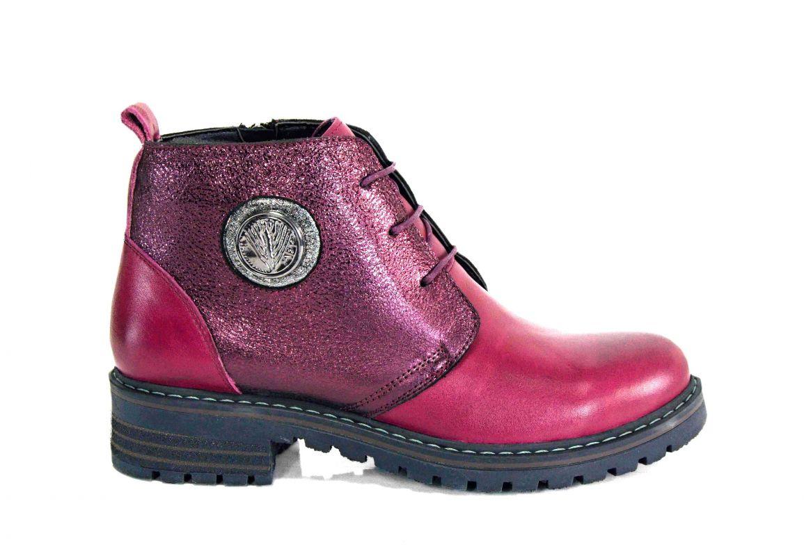 kožená a atestovaná obuv Zimní kotníkové boty 1002 s dvojím zapínáním - vínové Marcella