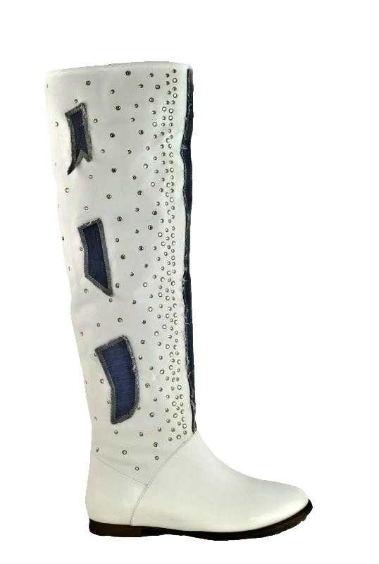 af9bf5ad81d kožená a atestovaná obuv Kožené bílé kozačky 2614 s kamínkami ITALY
