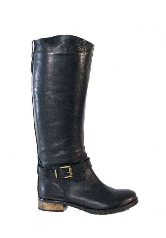 kožená a atestovaná obuv Kožené kozačky na nizkem podpatku ITALY