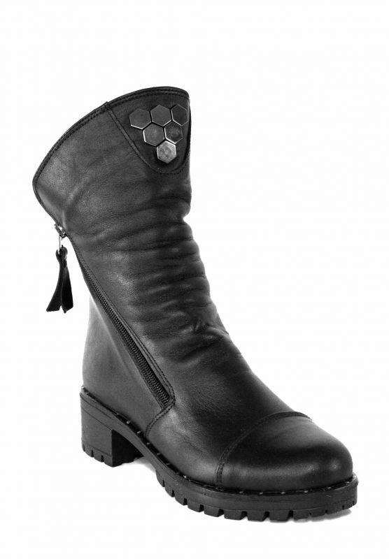 kožená a atestovaná obuv Zimní kožené polokozačky Merhaba, černé - 65 04 Di Lusso Italy