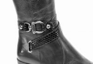 kožená a atestovaná obuv Luxusní kozačky na podpatku 9007,black Di Lusso Italy