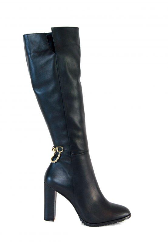 kožená a atestovaná obuv Luxusní kozačky na podpatku Larisis 66293e4839