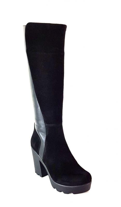 """kožená a atestovaná obuv Luxusní kozačky na podpatku """"7177"""" černí Di Lusso Italy"""
