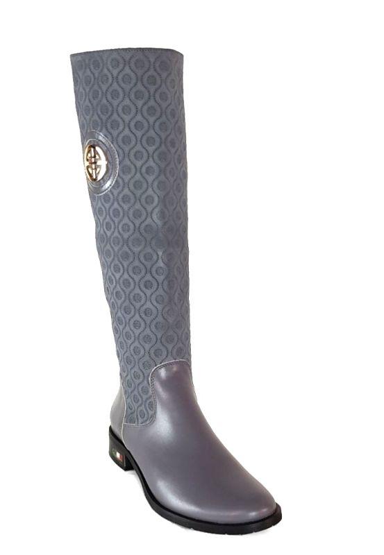 kožená a atestovaná obuv Zimní luxusní kozačky s perforací Z-91 šedé Roberto