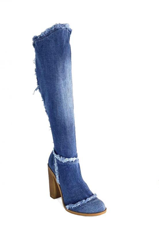 "kožená a atestovaná obuv Nadkolenní riflové kozačky 6051 s dekorativním šití ,,rifle"" Starbluemoon"