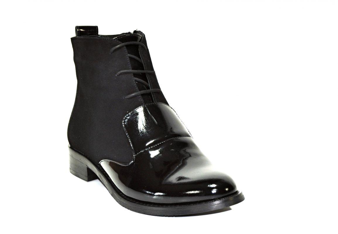 kožená a atestovaná obuv Kotníkové šněrovací botky 2000 , černé Di Lusso Italy