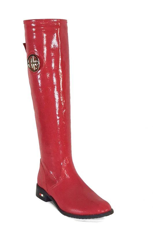 kožená a atestovaná obuv Nepromokavé kozačky 0-11 s dvojkombinací zipu v červené lakované barvě Roberto