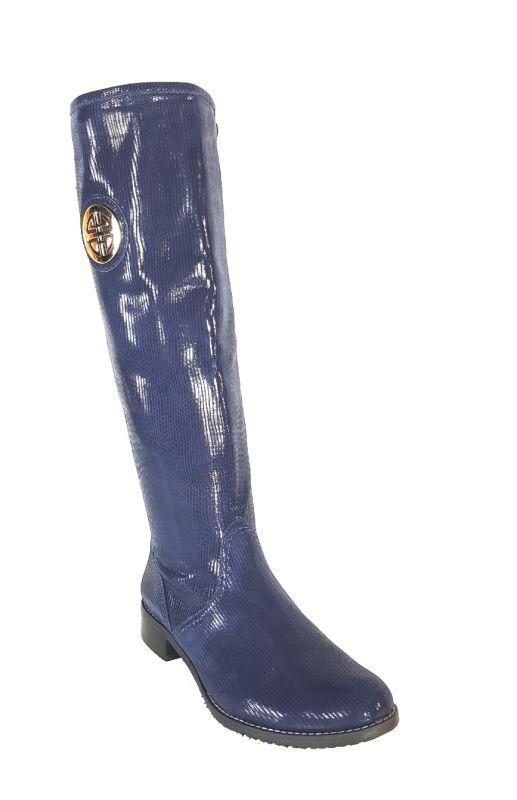 kožená a atestovaná obuv Kožené zateplené kozačky 0-11 s dvojkombinací zipu v modré barvě Roberto