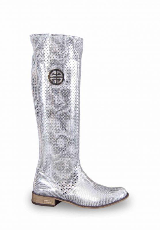 kožená a atestovaná obuv Nepromokavé kozačky 322 s dvojkombinací zipu v stříbrné lakované barvě Exquisite
