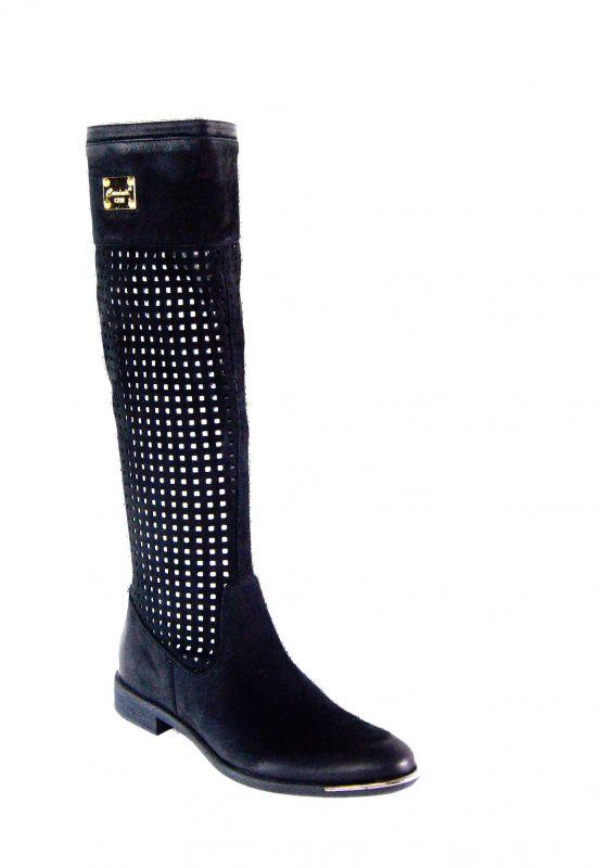 """kožená a atestovaná obuv Prodyšné kožené kozačky s perforací ,,dírkování □"""" B1372, černé CARINII"""