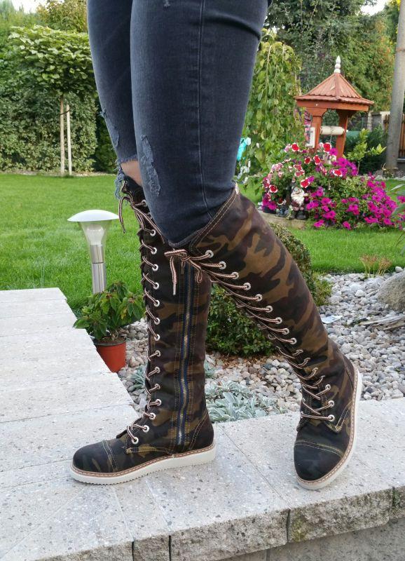 7a05a5bcdd5 kožená a atestovaná obuv Úžasné army kozačky na zip i šněrování 2330 Emani