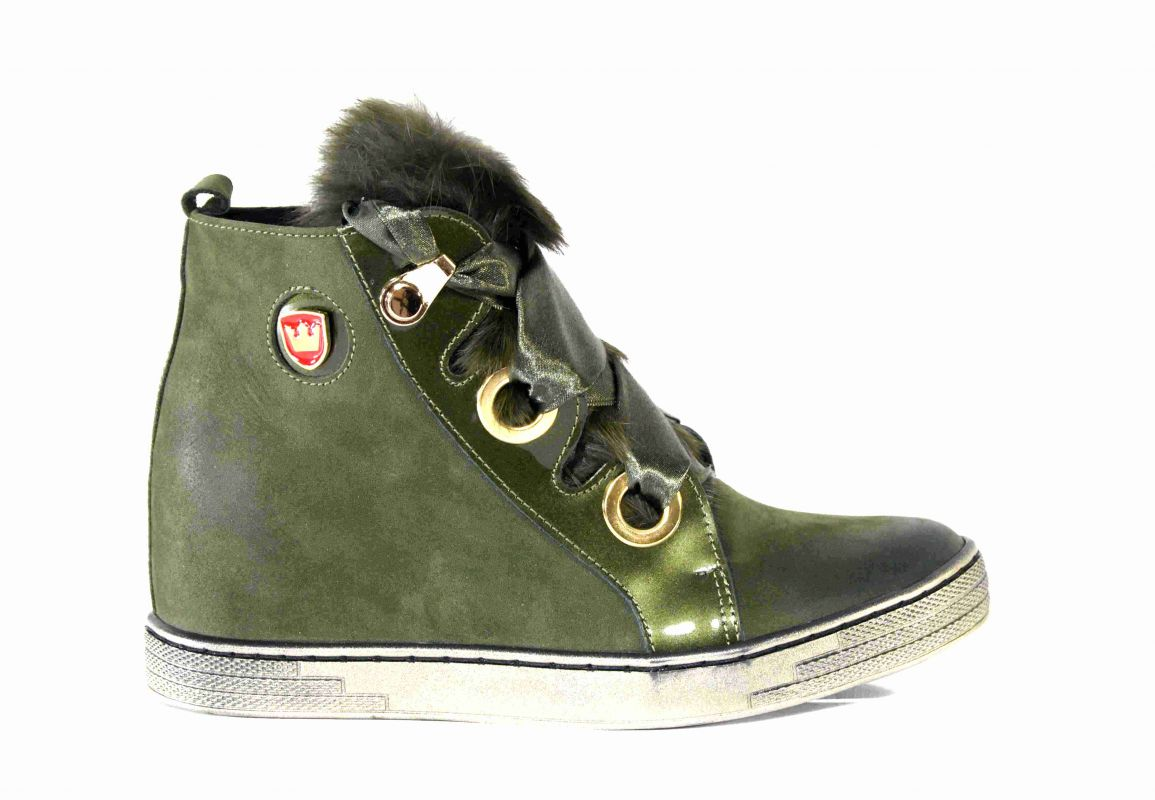 kožená a atestovaná obuv Zelené sneakersy 594 na skrytém klínu Roberto