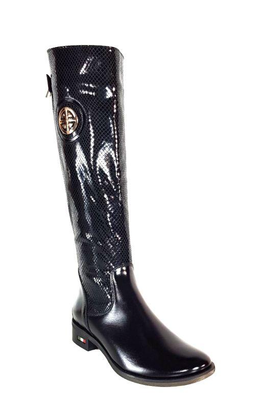 kožená a atestovaná obuv Zimní kozačky 0-11 s dvojkombinací zipu v černé lakované barvě s hadím vzorem Exquisite