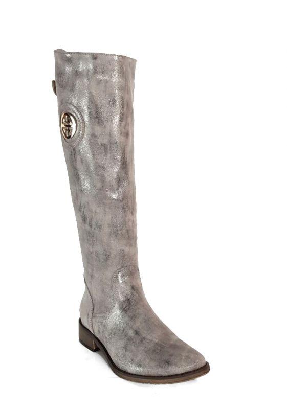 kožená a atestovaná obuv Zimní kozačky OC-91 s dvojkombinací zipu stříbro béžové Exquisite