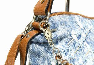 """kožená a atestovaná obuv Kabelka Jeans 8034 šití ,, rifle """" s delším uchem Facebag"""