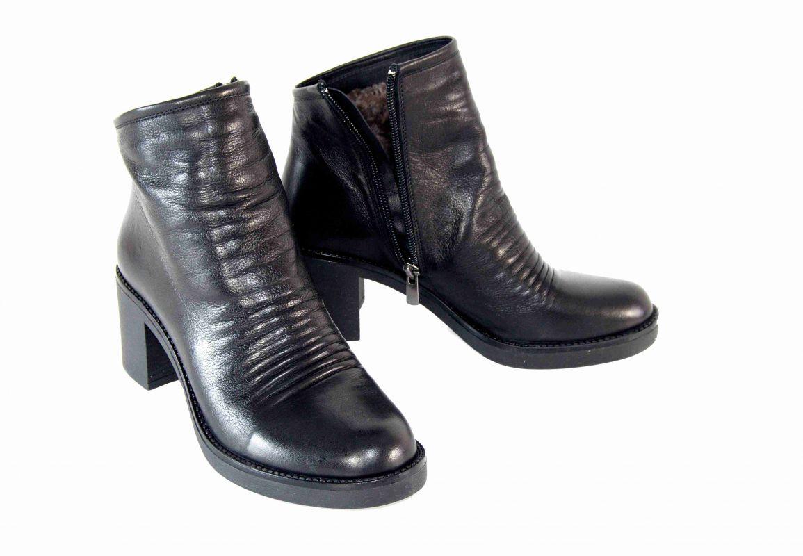 kožená a atestovaná obuv Zimní kotníčkové boty 1792 na podpatku ... 0977544313