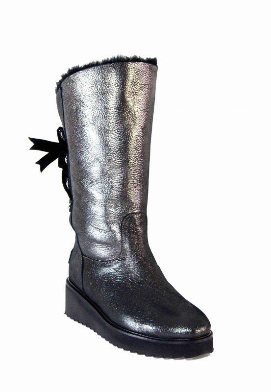 kožená a atestovaná obuv Zimní kožené kozačky 5884, na rovné platformě Sermes
