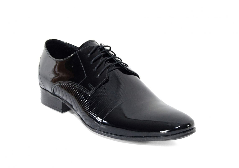 kožená a atestovaná obuv Kožená pánská obuv Lavaggio 1615, černá lesklá