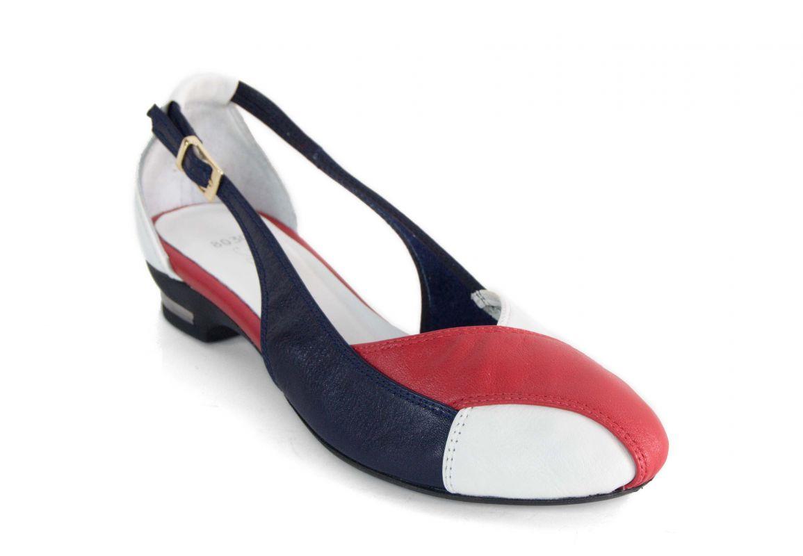 kožená a atestovaná obuv Kožené baleríny 14191 v trojbarevné kombinaci Maria Josephin
