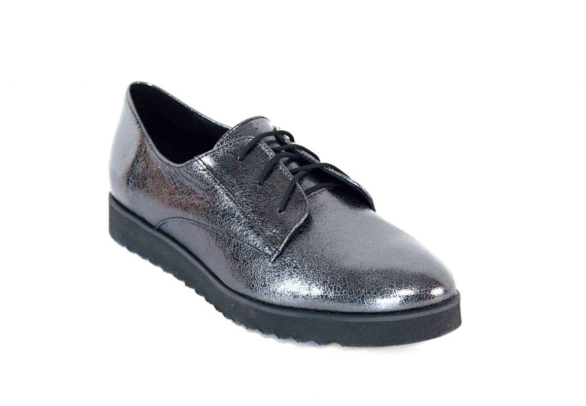 kožená a atestovaná obuv Kožené dámské polobotky CheBello 739 v metalicko antracitovém zbarvení