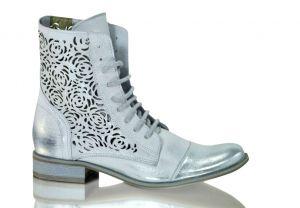 Kožené kotníkové boty 866  stříbrné s dvojím zapínáním