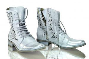 kožená a atestovaná obuv Kožené kotníkové boty 866 stříbrné s dvojím zapínáním Exquisite