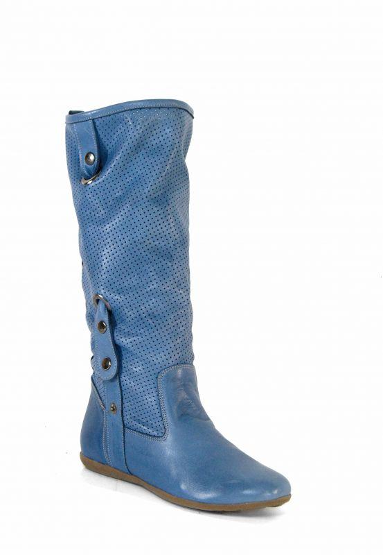 """kožená a atestovaná obuv Kožené kozačky 528 s perforací ,,dírkování"""", modré Bagira"""