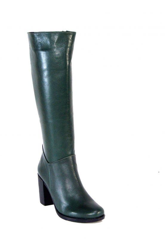 kožená a atestovaná obuv Kožené kozačky na sloupkovém podpatku 615-1, zelené Carlo mussi