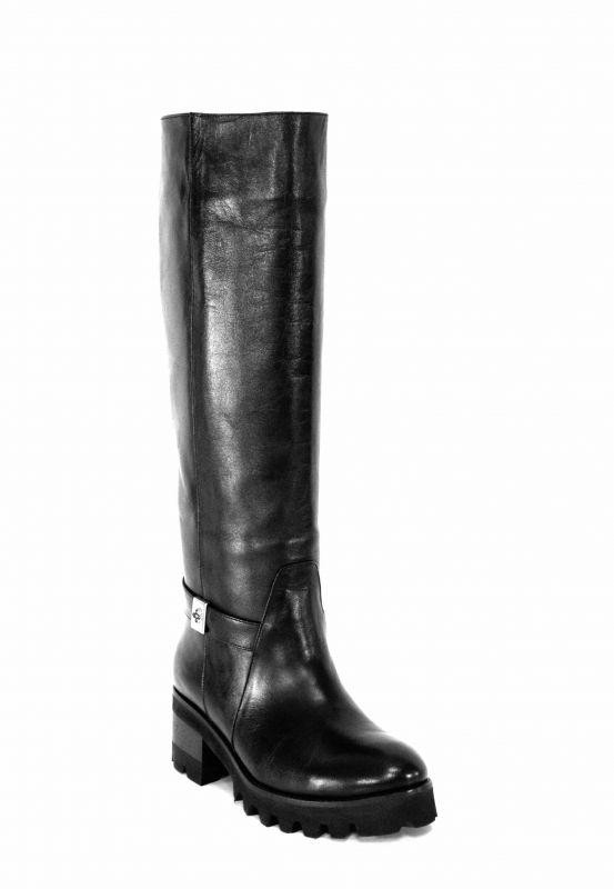 kožená a atestovaná obuv Kožené kozačky 7166 na širokém podpatku, černé Balaban