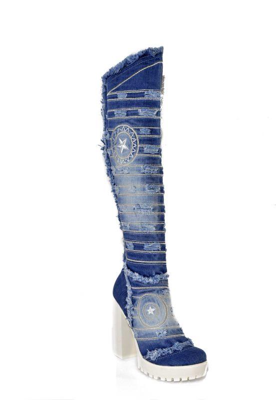 kožená a atestovaná obuv Luxusní riflové kozačky Starbluemoon