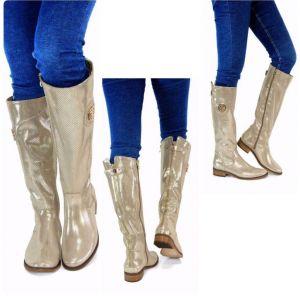 kožená a atestovaná obuv Nepromokavé kozačky 322 s dvojkombinací zipu v zlaté lakované barvě Exquisite