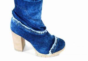 """kožená a atestovaná obuv Originální """"Jeans"""" nad kolenní kozačky s třásněmi 6041 - 40 Starbluemoon"""