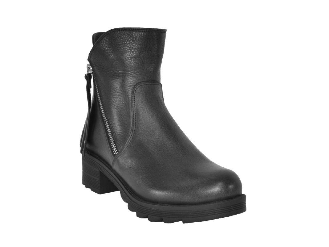 kožená a atestovaná obuv Podzimní kožené polokozačky na klínu Donna Style
