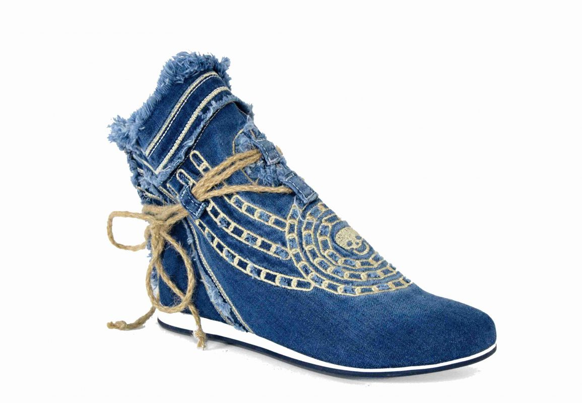 kožená a atestovaná obuv Riflové kotníkové polobotky s dekorativní šňůrou Starbluemoon