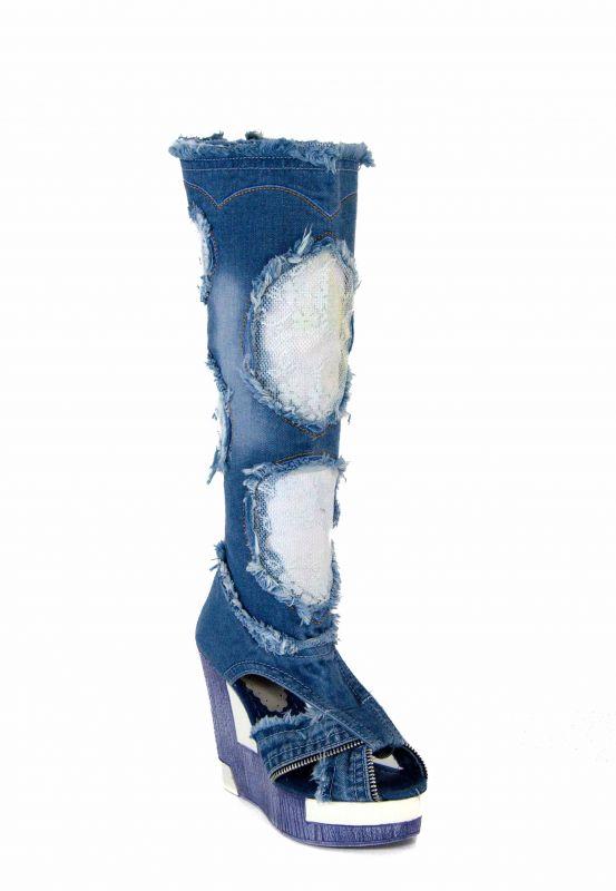 "b65dac4de80 kožená a atestovaná obuv Luxusní dámské kozačky z rifloviny na platformě  ""STAR BLUEMOON"" 5043 Starbluemoon"