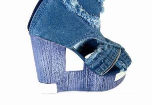 """kožená a atestovaná obuv Luxusní dámské kozačky z rifloviny na platformě """"STAR BLUEMOON"""" 5043 Starbluemoon"""