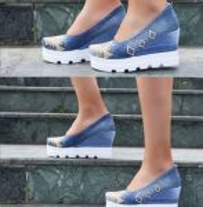 """kožená a atestovaná obuv Módní riflové lodičky na klínku """"STAR BLUEMOONˇ"""" s bílou platformou 777 Starbluemoon"""