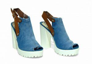kožená a atestovaná obuv Riflové sandále Emani 5052 na širokém podpatku